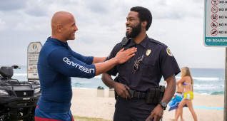 (L-R) Dwayne Johnson and Yahya Abdul-Mateen II on the set of the film BAYWATCH by Paramount Pictures, Montecito Picture Company, FlynnPicture Co., and Fremantle Productions