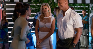 (L-R) Priyanka Chopra as Victoria Leeds, Kelly Rohrbach as CJ Parker, and Dwayne Johnson as Mitch Buchannon in the film BAYWATCH by Paramount Pictures, Montecito Picture Company, FlynnPicture Co., and Fremantle Productions