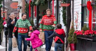 Mel Gibson plays Kurt, Mark Wahlberg plays Dusty, Will Ferrell plays Brad, Scarlett Estevez plays Megan and Owen Wilder Vaccaro plays Dylan in Daddy's Home 2 from Paramount Pictures.